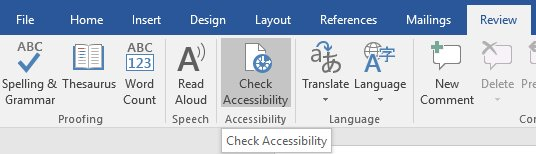 Location of the Microsoft accessibility checker within the review tab.